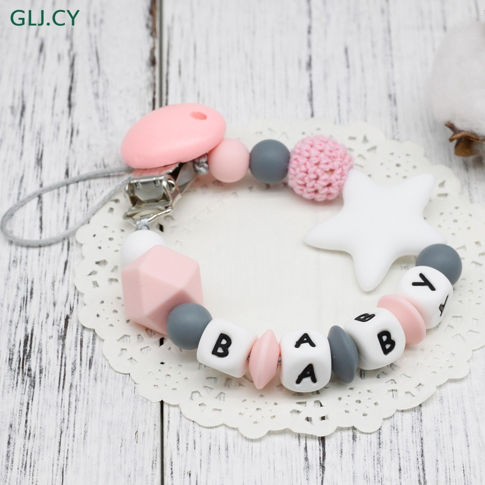 NEW DIY Silicone Baby Pacifier Clip Personalised Name Colorful Pacifier Chain For Baby Teething Soother Chew Toy Dummy Clips