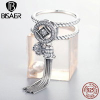 BISAER 100 925 Sterling Silver Double Layer Round Geometric Long Tassel Finger Ring For Women Bohemian
