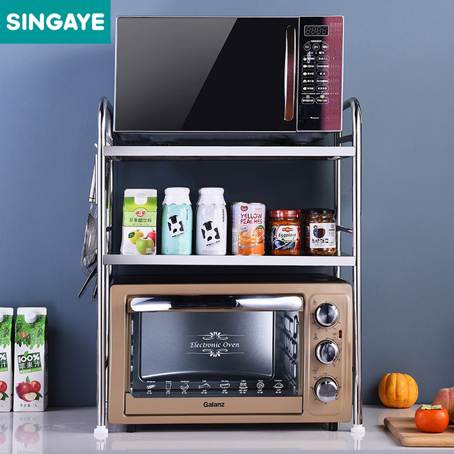 Singaye Three Layers Stainless Steel Kitchen Shelf Microwave Oven