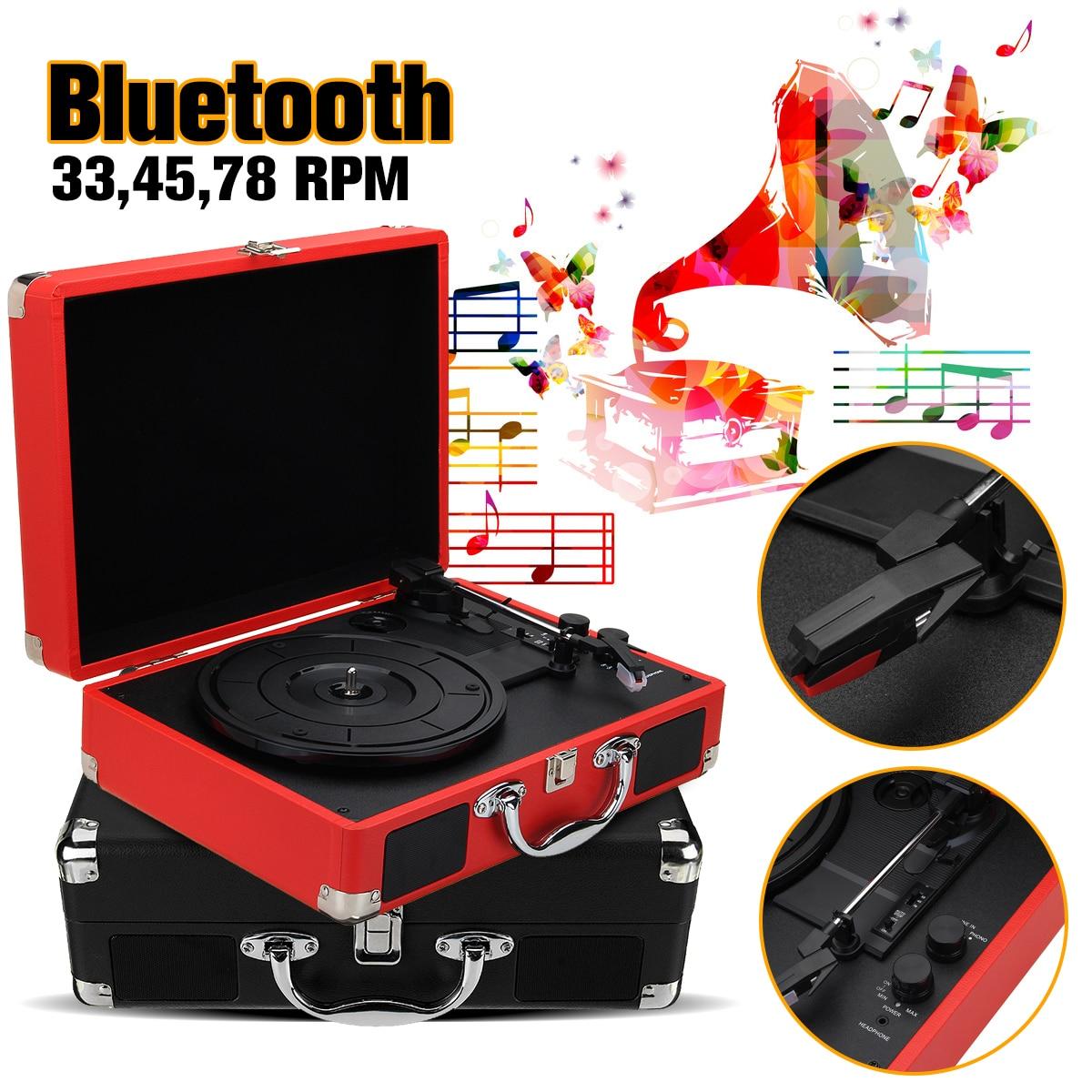 Plastic Wood Retro 33/45/78 RPM bluetooth PH/ INT/ BT 2.0 Suitcase Turntable Vinyl LP Record Phone Player 3 Speed 3.5mm AUX IN