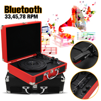 Plastic Wood Retro 33/45/78 RPM bluetooth PH/ INT/ BT 2.0 Suitcase Turntable Vinyl LP Record Phone Player 3 Speed 3.5mm AUX IN