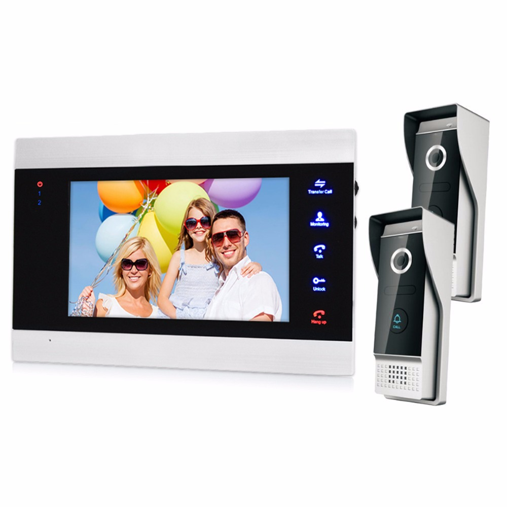 7 LCD Display Video Door Phone 1200TVL Doorbell Video Intercom System Outdoor IR Camera F1408 jeatone 7 inch video door phone video intercom 1200tvl outdoor call panel 1200tvl analog camera access control system doorbell