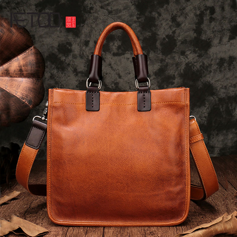 AETOO Leather handbags new square tote bag handmade soft leather diagonal bag female retro portable briefcase square pu tote bag