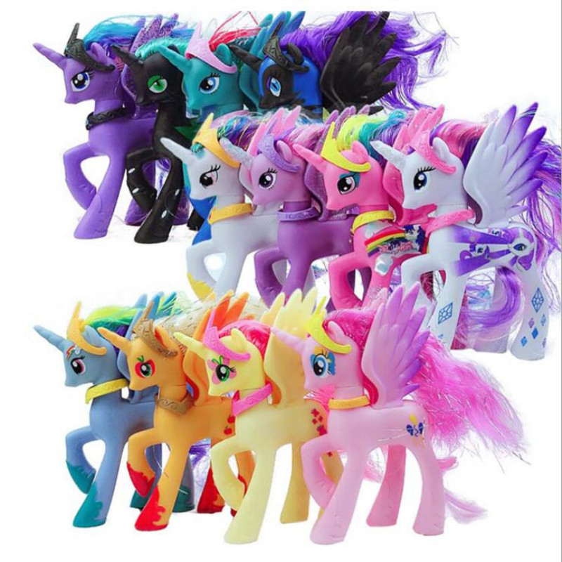 14cm My little pony cute pvc unicorn PVC little ponis <font><b>horse</b></font> action <font><b>toy</b></font> <font><b>figures</b></font> dolls for girl birthday christmas gift image