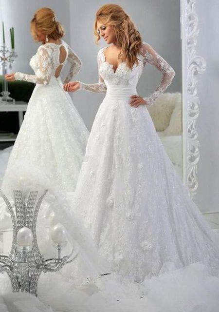 Hot Vestidos de novias Wedding Dress 2016 Custom White/Ivory/Red Long Sleeve V-Neck Lace Appliques Wedding Gown Robe de mariee