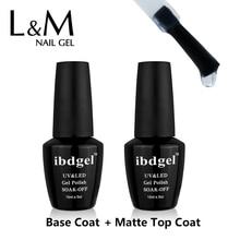 2 Pcs Set ibdgel Nail Gel Kit Soak Off (Top Coat + Foundation Base Coat )Matte No Wipe Nails Polish Long-lasting 15ml UV Primer