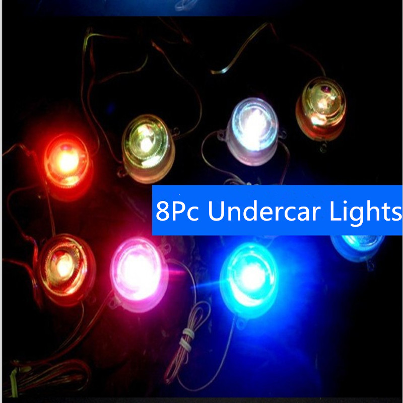 8 Led Undercar Lights Colorful Car Under Puddle Ground LED Lights Lamps For Universal Car styling Decoration lights rakesh kumar and shashank singh mechanical cultivation of rice under puddle and unpuddle condition
