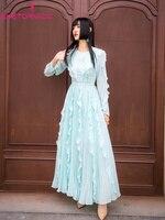 Women Fashion Long Ruffled Pleated Dress Summer 2019 Long Sleeve O Neck Casual Beach Boho Maxi Dress Vestido