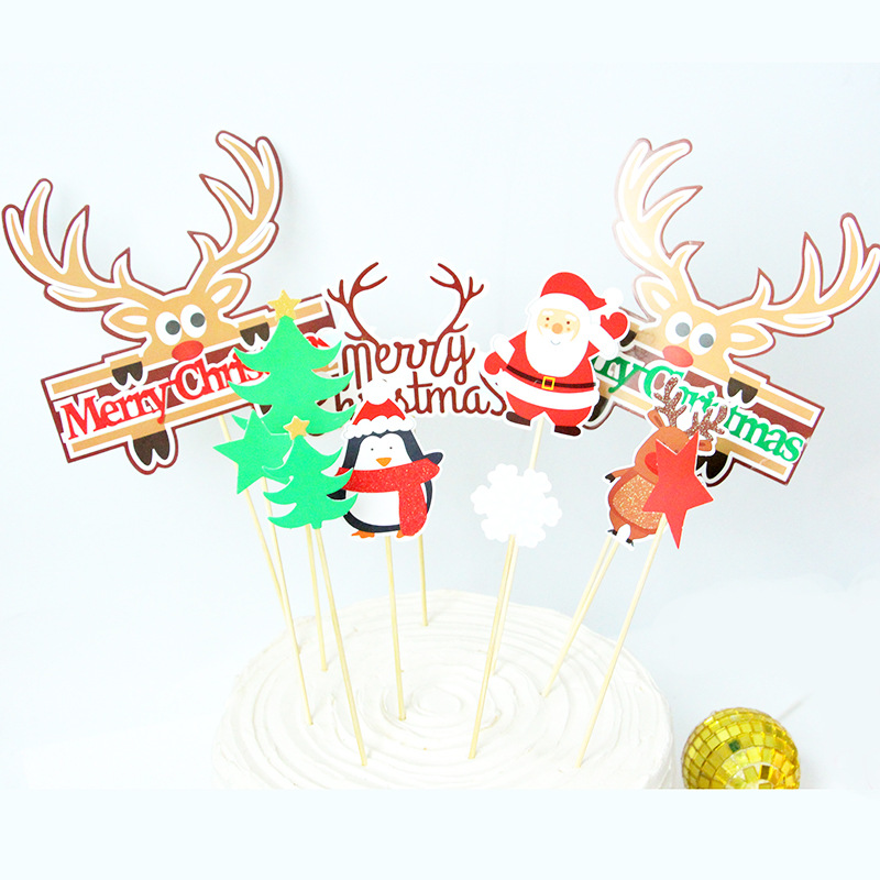 Merry Christmas Cake Toppers Flags Elk Tree Cake Topper Kids Happy Birthday Wedding Baby Shower Party Cake Baking DIY Decor New