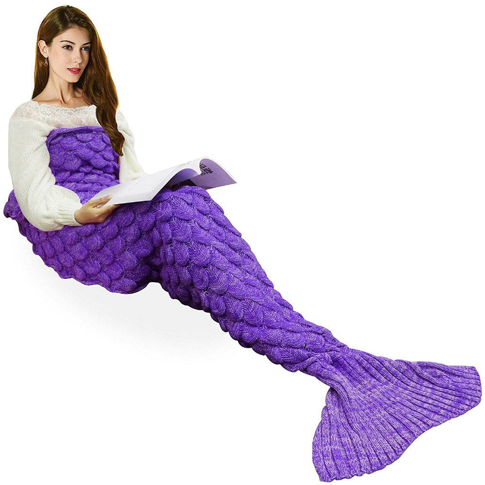 Handmade Knitted Mermaid Tail Blankets Wool Sofa Cover New Style Trend Adult Children Sleeping Bags Colorful Sofa Cover Bed Wrap comfortable multicolor knitted mermaid tail design blanket