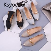 Brand Ksyoocur 2018 Spring New Ladies Flat Shoes Casual Women Shoes Comfortable Pointed Toe Flat Shoes 18 012