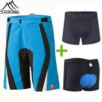 Saenshing Cube Shorts Men MTB Cycling Shorts Downhill Cube Bike Short vtt 3D Padded Breathable Cycling Underwear S-XXL Short