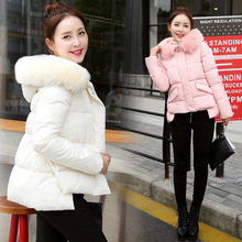 Womens Winter Jacket 2016 Winter Warm Woman Down Cotton Jacket Fur Hooded Padded Fur Jacket Women