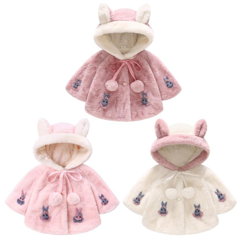 CHAMSGEND Fashion Infant Kids Baby Grils Long Sleeve Rabbit Hooded Coat Tops Warm Outwear Girls Wool Winter Coats Wide-waisted cropped wide sleeve top