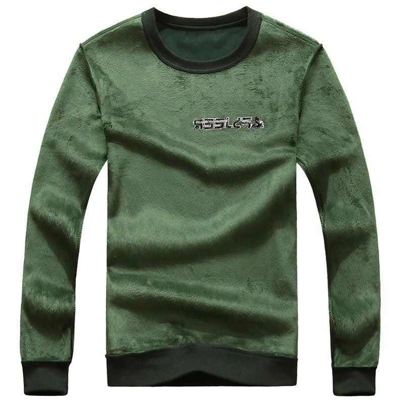 298d1a9ea05c 2018 Autumn Winter Long Sleeve Fleece TShirts O Neck Solid Color Casual  Loose Autumn Spring Men's Shirt Tops Tees Fashion Tshirt