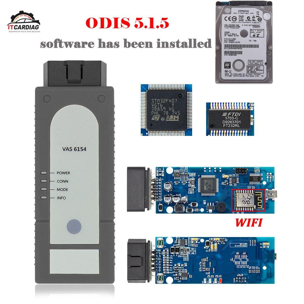 VAS 6154 ODIS OKI Chip Full VAS6154 V5.1.5 WI-FI Para Audi/Skoda Melhor Do Que VAS5054 Com HDD Software ODIS instalado Suporte UDS