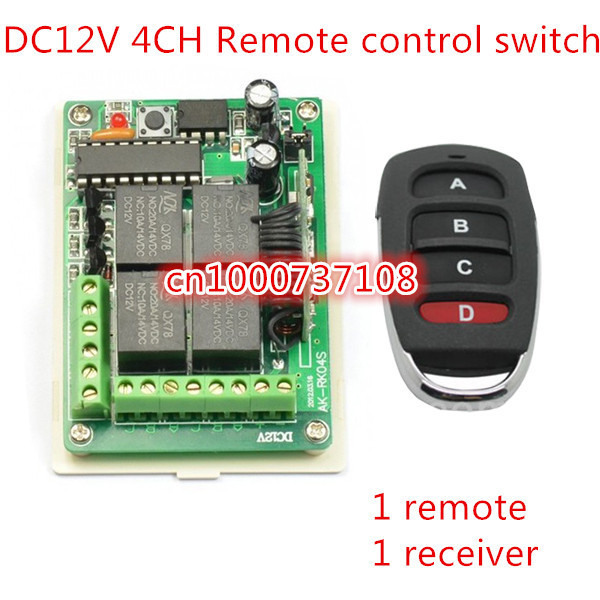 AK NEW 12v 4 Channel Rf Wireless Remote Control Switch Receiver Module With Controller Car shape remote key mtdz008 rf 4 channel wireless remote controller switch module green black