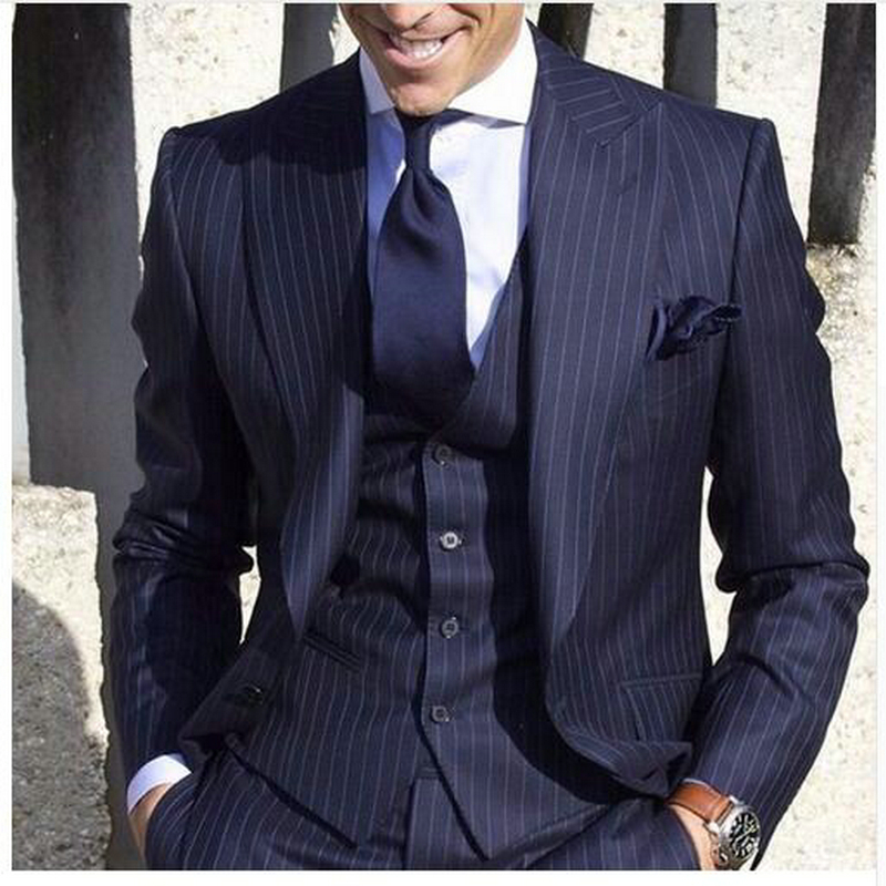 2019 Custom Made New Arrival Wool Blended Navy Blue Mens Striped Suit Costume Made Formal Fashion Men Suit 3Pieces Handsome