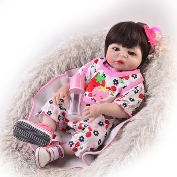 23inch fashion Full Silicone Body Reborn Toys 55cm newborn real touch  toddlers realistic bathe babies bedtime play house doll