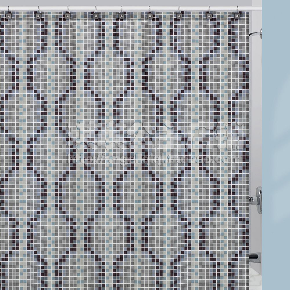 Bathroom plastic curtains - European American Retro Polyester Printed Shower Curtain Bathroom Curtains Donated Plastic Liner Grey Mosaic Including Hooks
