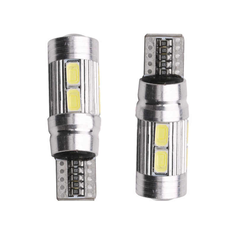 2Pcs T10 Car Light Bulb 5630 10 SMD W5W Auto Led Lamp 12V Automobiles Parking Tail Trunk License Light-emitting Diode Lamp CZ