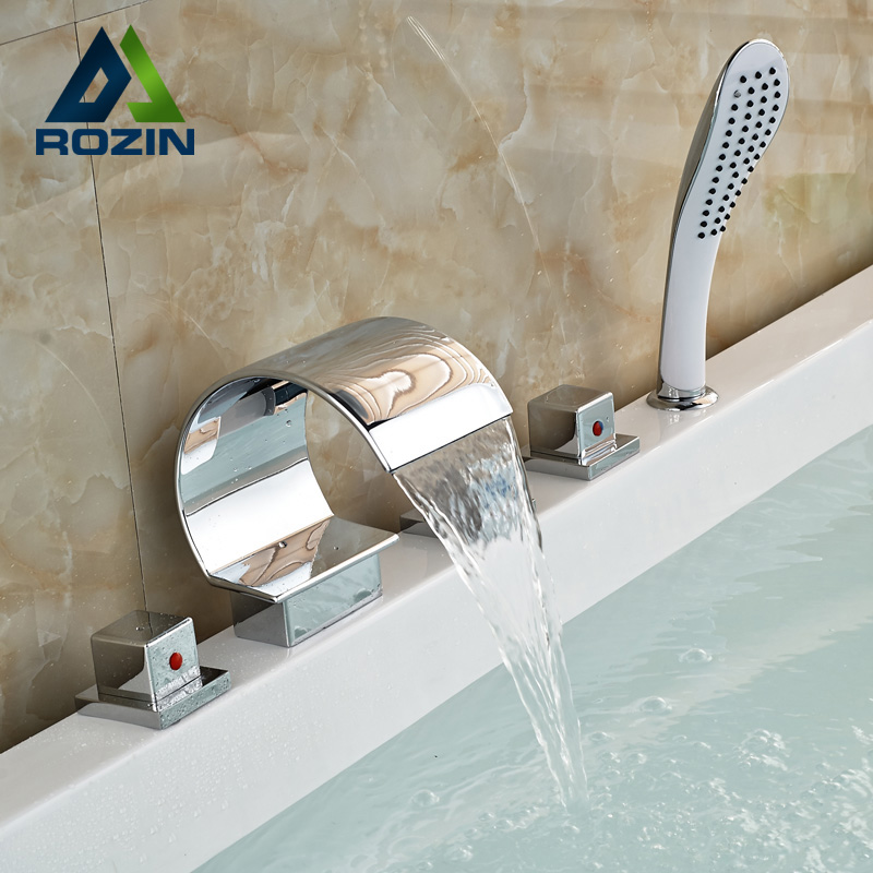 Luxury Chrome Roman Tub Faucet Deck Mounted Widespread Three Handles 5 pcs Bathtub Mixer Tap with Plastic Handshower