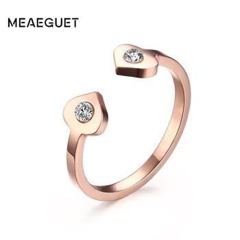 line Shop Meaeguet Romantic Adjustable Double Heart Rings Rose