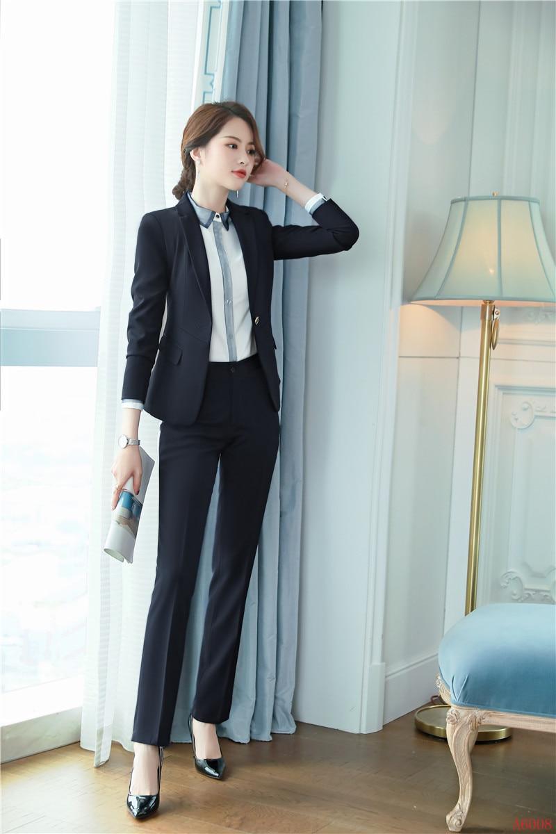Ensembles Costumes D'affaires Wear Formelle Gratuite gris Pantalon Bureau Livraison Styles Marine Uniformes Et Dames Noir Blazer marine Bleu Femmes Work De Veste IqWXAXw76