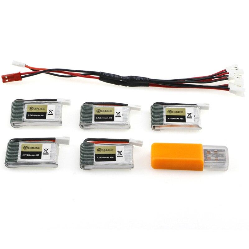 Hot 5PCS Eachine E010S 3.7V 240mAh 45C Upgrade Battery USB Charger Set RC Quadcopter Spare Parts