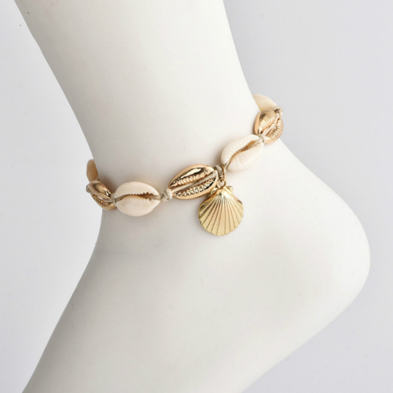 2019 new fashion geometric conch shell metal wire rope anklet bohemian jewelry in Anklets from Jewelry Accessories