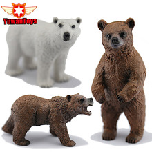 New PVC Animals World Alaska Grizzly Brown Polar Bear Bears Static Model Plastic Action Figures Educational Toys Gift for Kids
