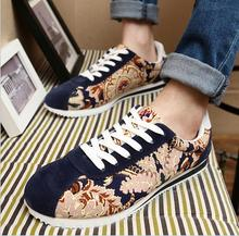 Flower Print Mens Fashion Canvas Shoes Nice Fashion Casual Boy Shoes Spring Autumn Males Shoes Breathable