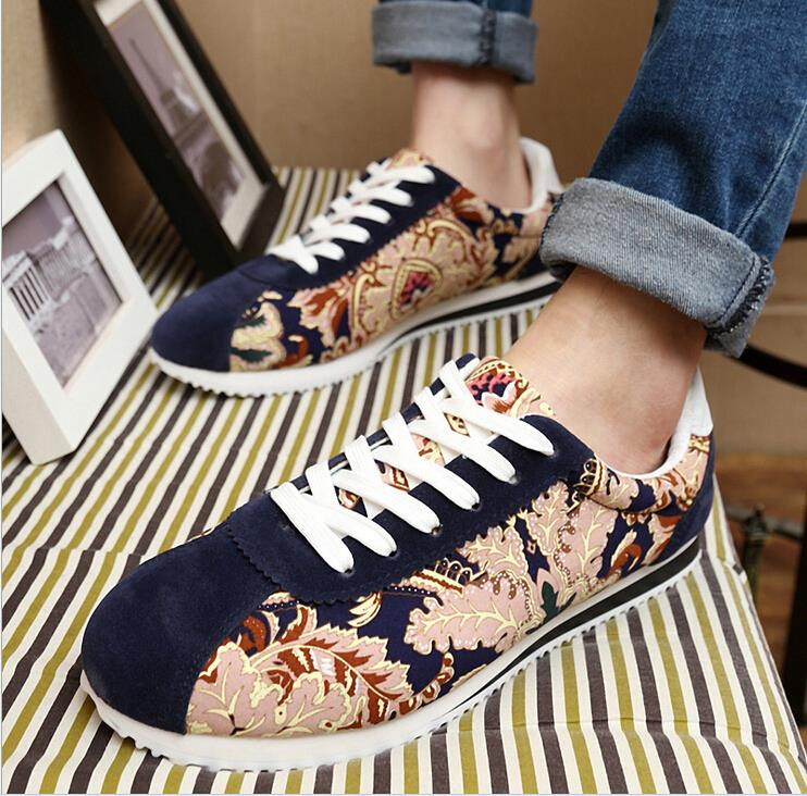 Flower Print font b Mens b font Fashion Canvas Shoes Nice Fashion Casual Boy Shoes Spring
