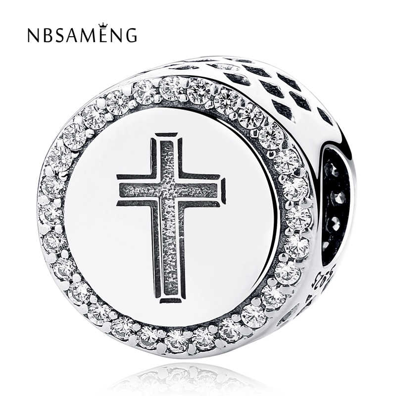 b3aede705 Authentic 925 Sterling Silver Bead Faith Cross Crystal CZ Charm Fit  Original Pandora Bracelets DIY Charms