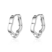 Vintage Lady Silver 925 Earrings For Women Jewelry Fashion Black Geometric Hoop Girls Party Accessories Female Hot