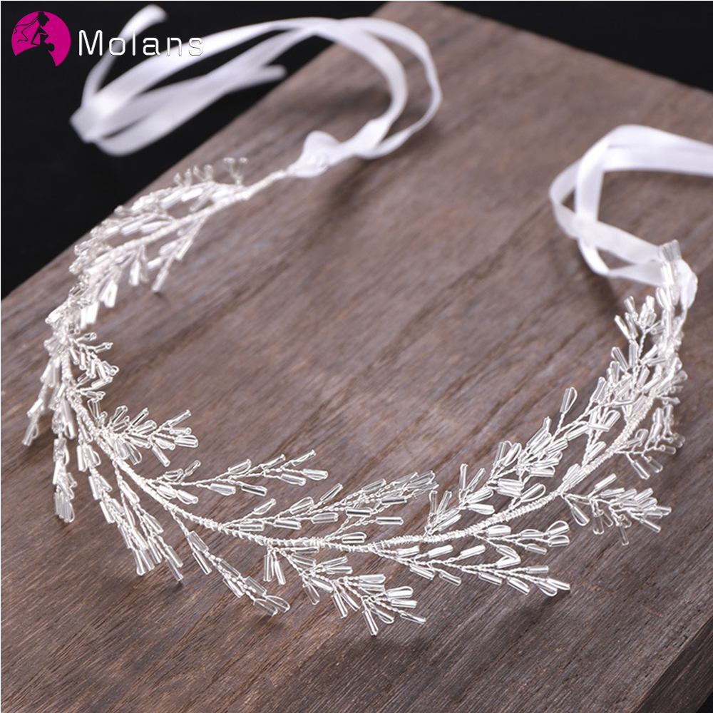 MOLANS Customized Crystal Headbands European Women Sturdy Alloy Hairbands Hand-knitted Bridal Tiara Wedding Dress Accessories