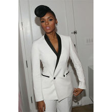 New White Trouser Suit Black Lapel Womens Business Suits Work Ladies Pant Suits white suits tpb