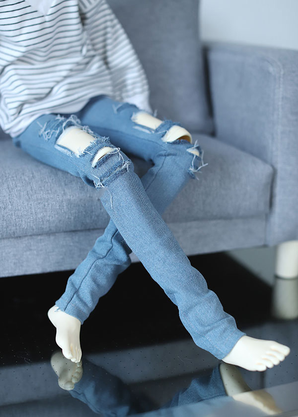 Cool Light Blue Hole jeans pants trousers for BJD 1/4 MSD 1/3 SD13 SD17 Uncle Doll Clothes CMB128 fashion black coat for bjd 1 4 uncle sd17 doll clothes accessories