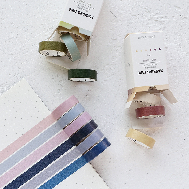 6 Pcs/lot Fall Decorative Paper Green Pink Purple Washi Tape Set Japanese Stationery Kawaii Scrapbooking Supplies Stickers