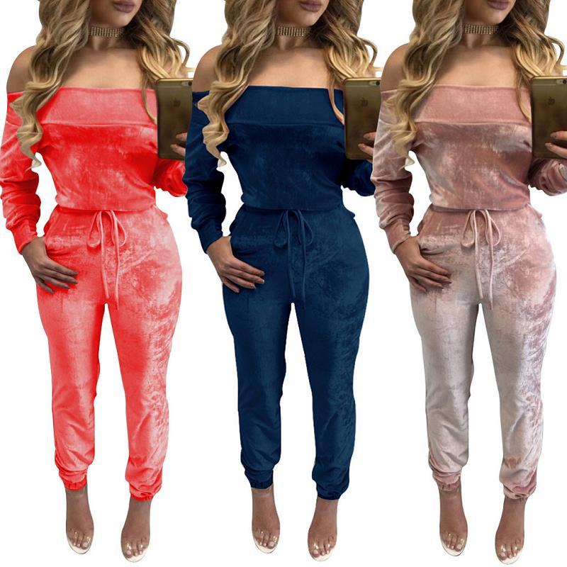 299d3d508f5 Off Shoulder Velvet Jumpsuit Women Sexy Slash Nec Long Sleeve Lace Up Women  Warm Jumpsuits Elegant