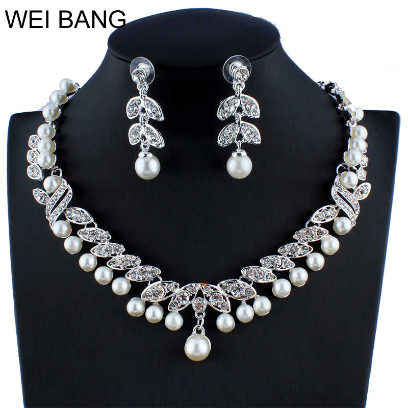 Fashion Bridal Jewelry Sets Pearl Gold color Earrings Necklace Set Rhinestone Jewelry For Wedding Accessories Shipping 2017