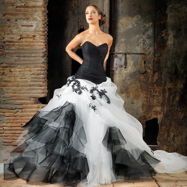 Black lace on white wedding dress