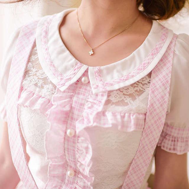 8b24920651e Online Shop Princess sweet lolita skirts Candy rain princess sweet Japanese  style summer grid Tall waist Braces skirt C15AB5713