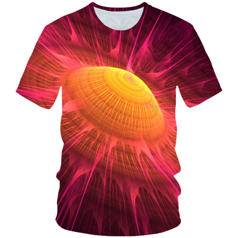 T-Shirt Kids Hole-Print Girls Black Fashion Children Summer 3D Ufo-Color Vortex Smoke