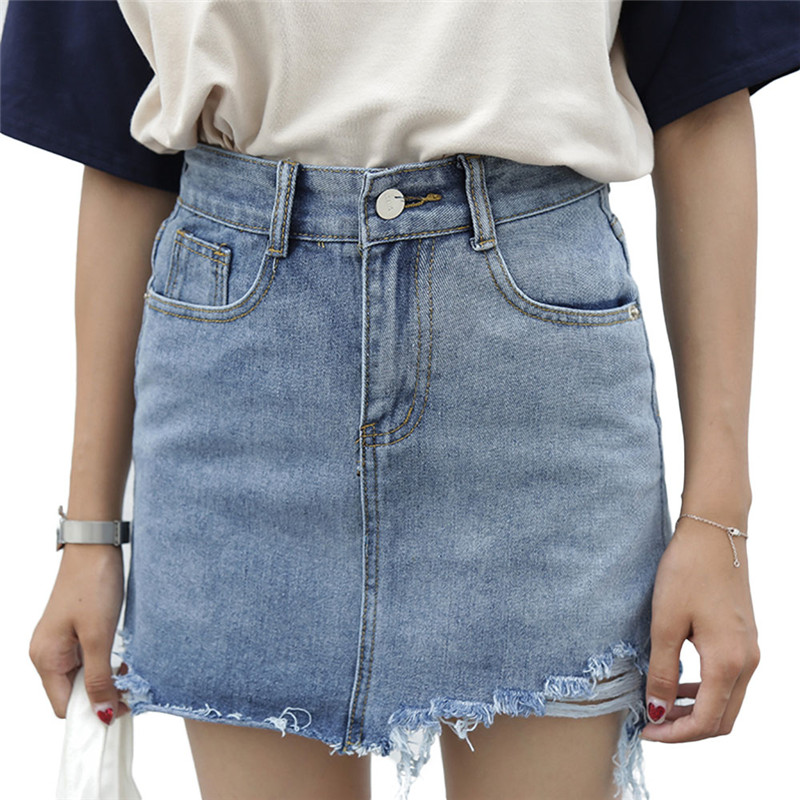 Women Summer Irregular Edges Denim Skirt High Waist Cotton Blue A-line Skirts S-XL Size