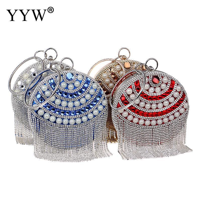 Femme ronde sac de mariage strass gland embrayage diamants perlé bandoulière sacs de soirée chaîne épaule Messenger sac à main sacs