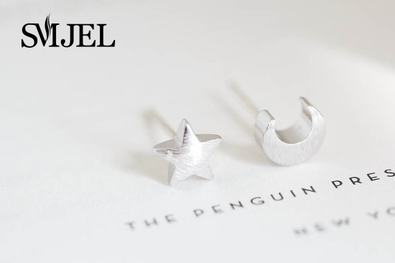 SMJEL Fashion Jewelry New Tiny Matte Love Moon and Star Stud Earrings for Women Birthday Teen Gifts boucle doreille femme 2017
