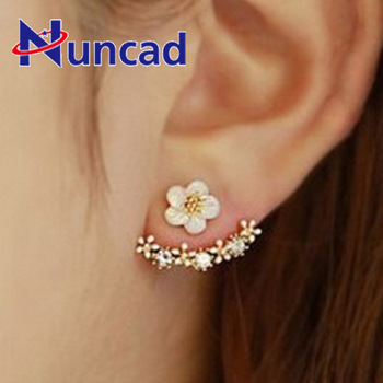 Special Small FLOWER Back Ear Nail Gold Silver Defence Allergy Earrings Woman Ornaments Dropshipping image