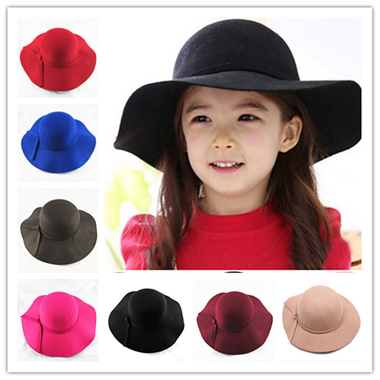 d6d61afc2cb Detail Feedback Questions about Vintage Retro Kids Child kid Fedora Wool  Felt Crushable Wide Brim Cloche Floppy Sun Beach Cap Free Shipping on ...
