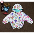 KW Brand Children Outerwear & Coats 3-7 Years 2016 Boys Girls Printing Full Sleeve Jackets Coat Cute Hooded Coats for Girls